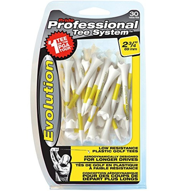 "Pride Evolution Plastic PTS 2-3/4"" Pack of 30 Golf Tees - White"