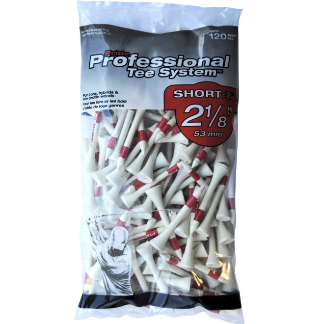 """Pride Professional Tee System 2-1/8"""" Pack of 120 Golf Tees - White"""