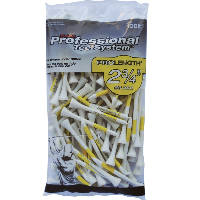 "Pride Professional Tee System 2-3/4"" Pack of 100 Golf Tees - White"