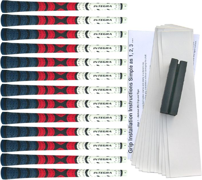 Integra Dual Compound Half-Cord Midsize Blue/Red/White - 13 pc Grip Kit