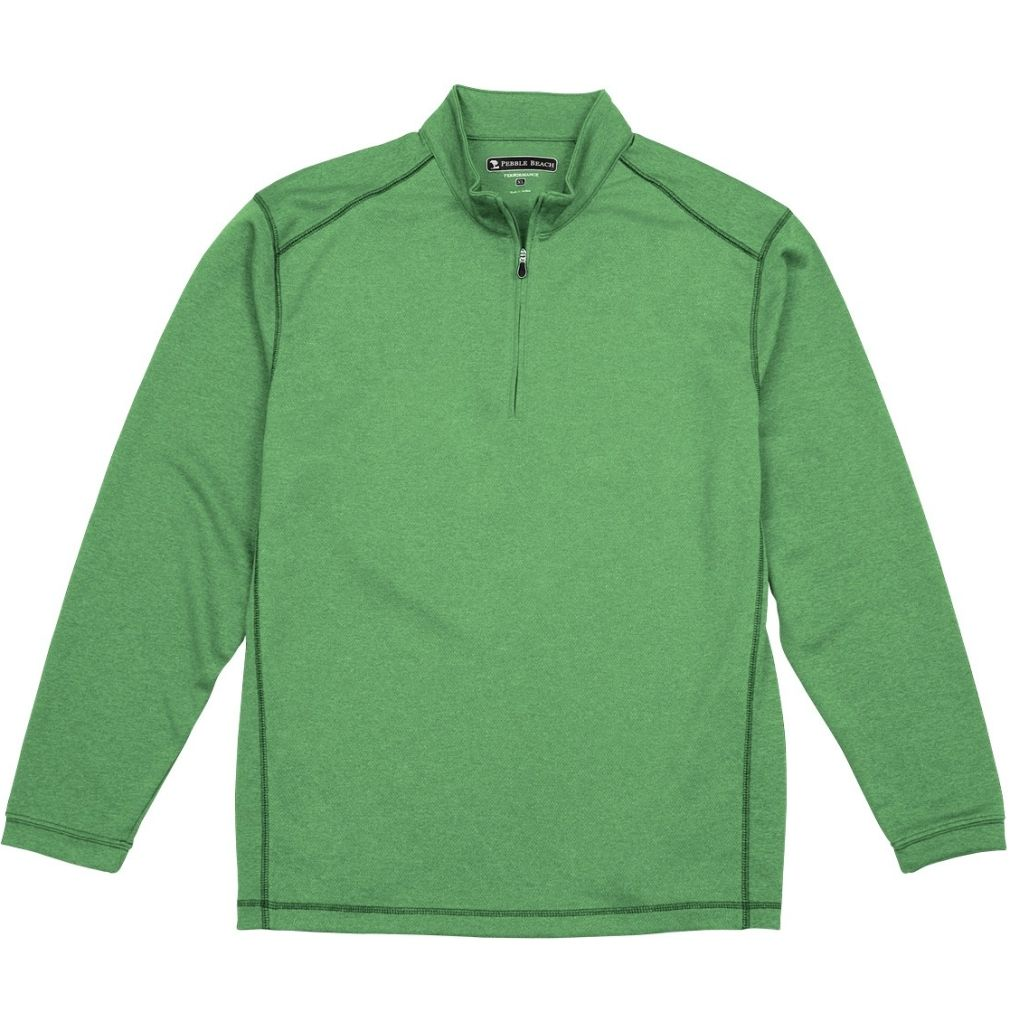 Pebble Beach Men's Performance Tech Golf Pullover 1/4 Zip Long Sleeve Shirt Green
