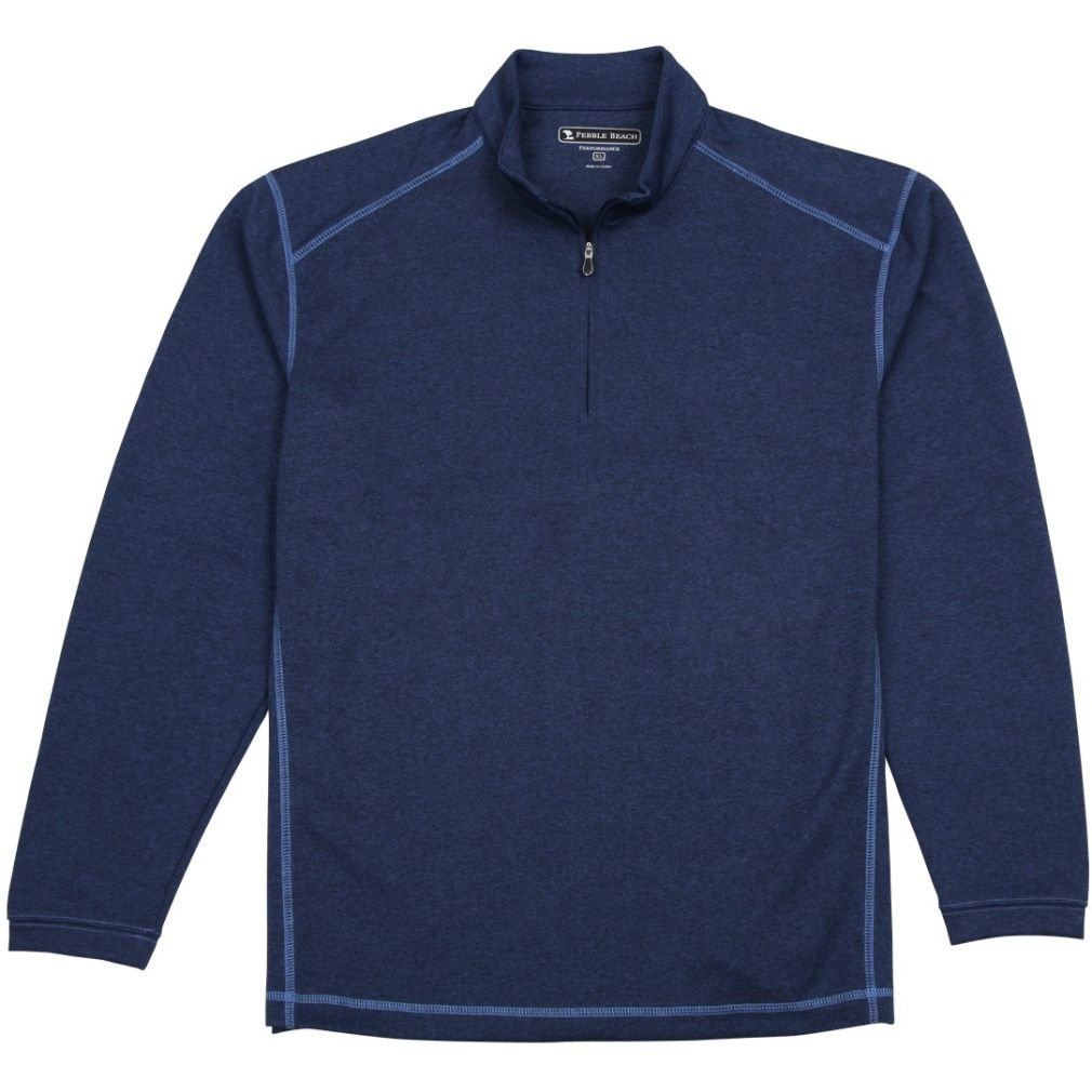 Pebble Beach Men's Performance Tech Golf Pullover 1/4 Zip Long Sleeve Shirt Navy