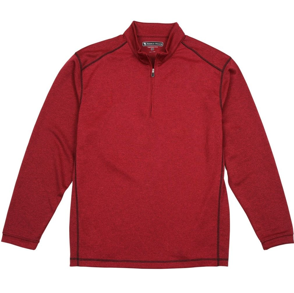 Pebble Beach Men's Performance Tech Golf Pullover 1/4 Zip Long Sleeve Shirt Red