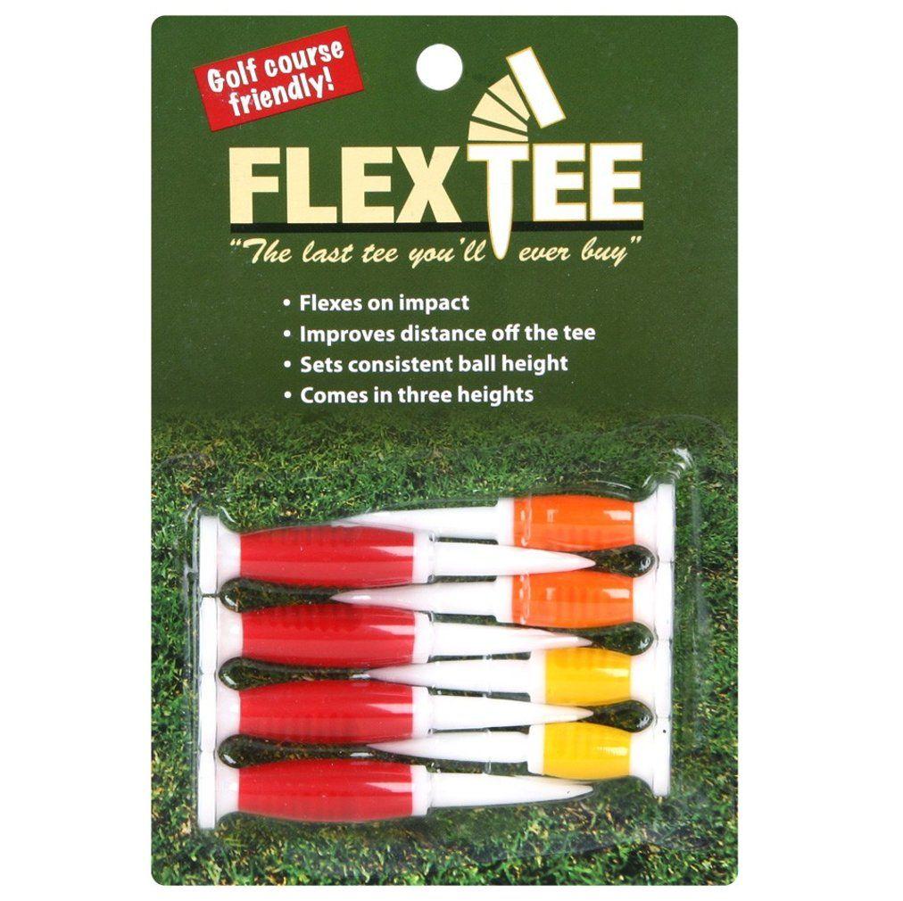 FlexTee Flexible Golf Tees Florescent Red/Orange/Yellow - Pack of 8