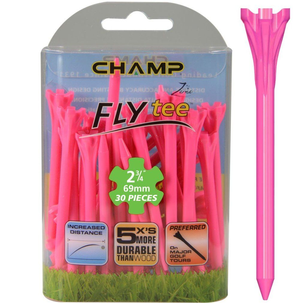 "Champ Zarma FLYTee - 2.75"" Neon Pink Golf Tees 30 pack"