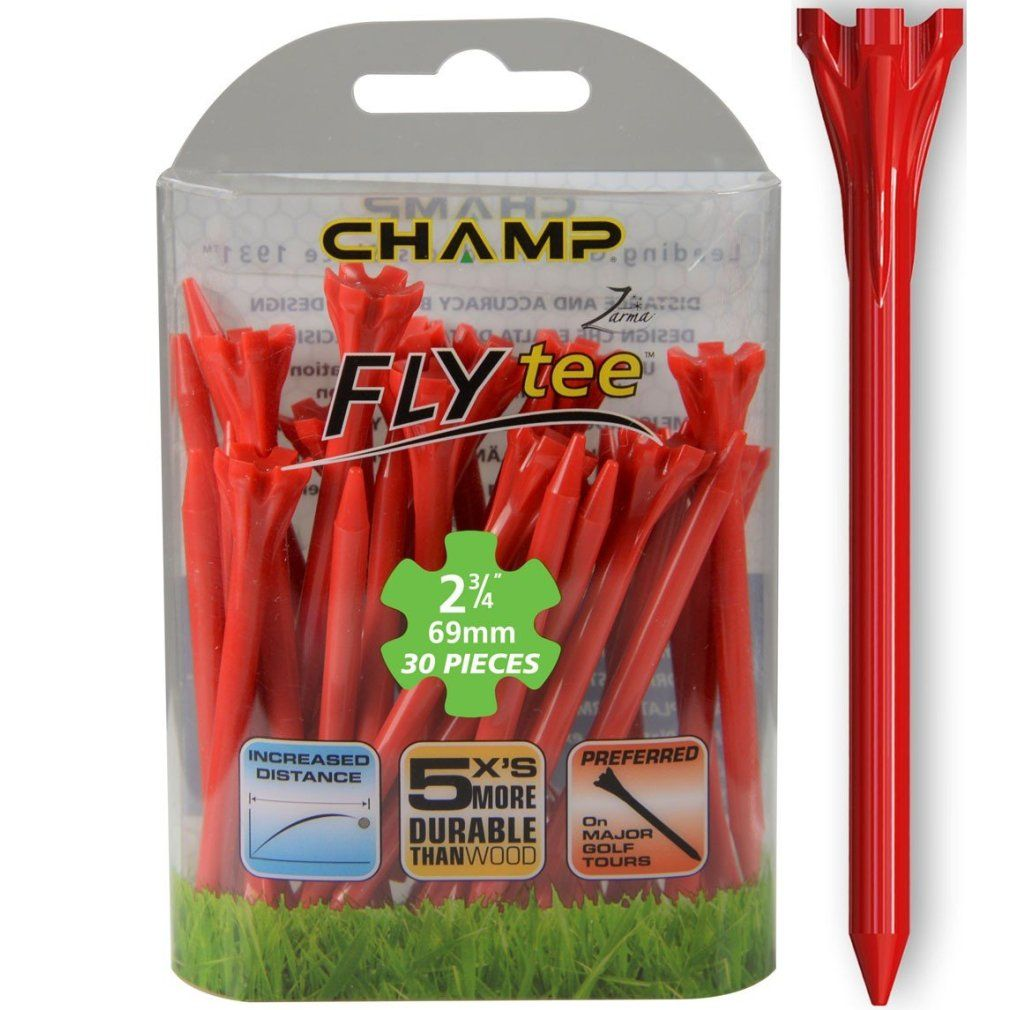 "Champ Zarma FLYTee - 2.75"" Red Golf Tees 30 pack"