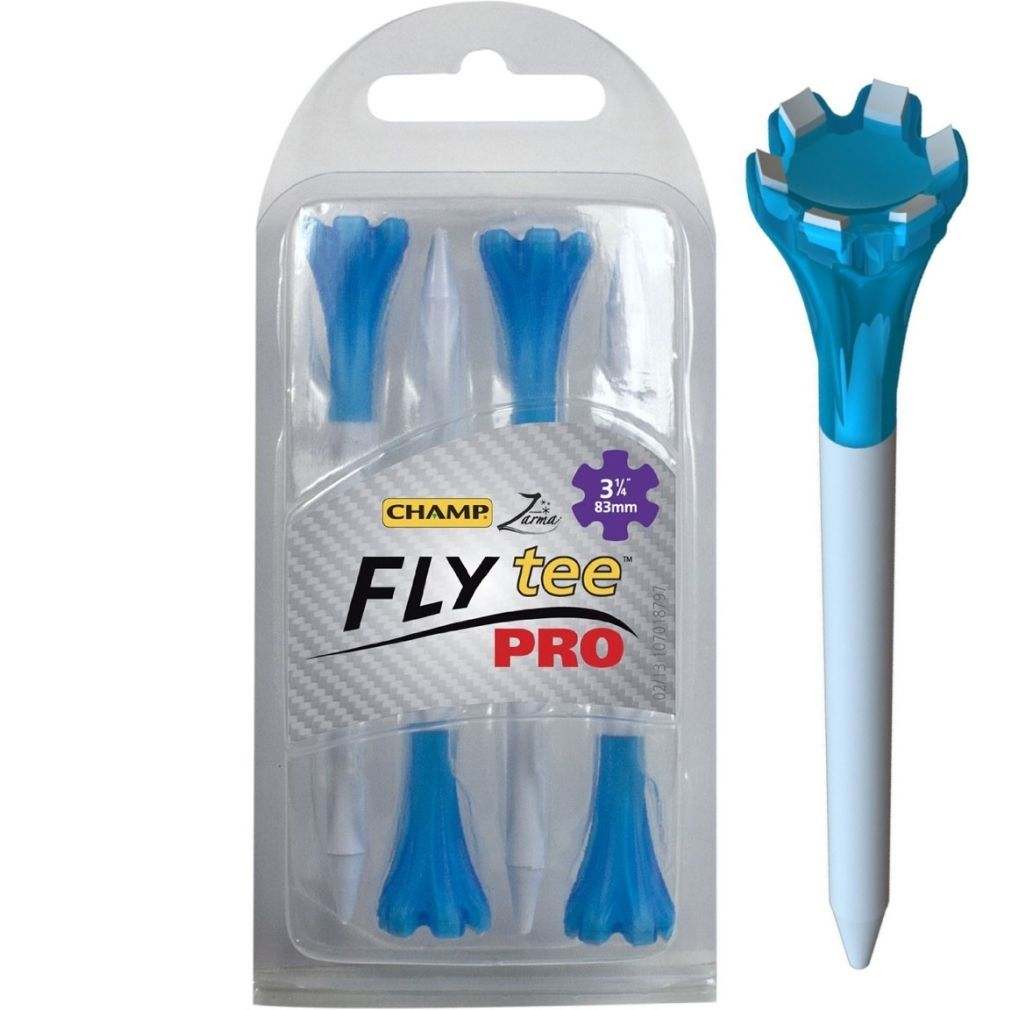 "Champ Zarma FLYTee Pro - 3.25"" White/Neon Blue Golf Tees 4 pack"