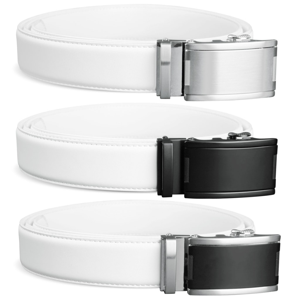 Ratcheting Golf Belt - White