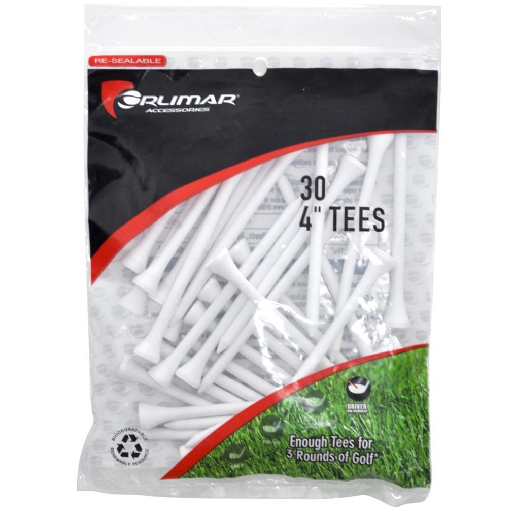 Orlimar 4-Inch Golf Tees 30-Pack - White