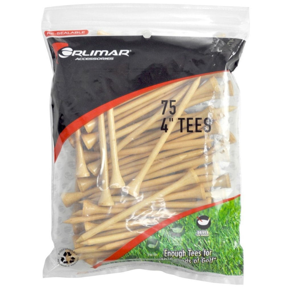Orlimar 4-Inch Golf Tees 75-Pack - Natural
